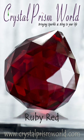 Crystal Ball - Red Faceted Crystal Ball 40mm | Item #B6987