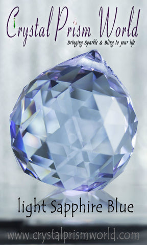 Sapphire Blue Faceted Crystal Ball | Item #B4875 - Crystal Prism World