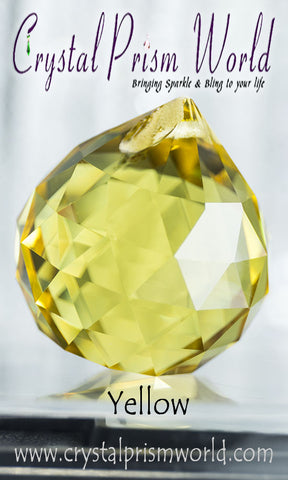 Crystal Ball - Yellow Faceted Crystal Ball 40mm | Item #B3589
