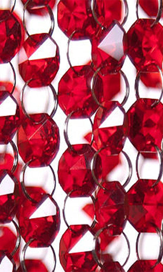 Red Chandelier Garland Chain Crystal Prism World - Red chandelier crystals