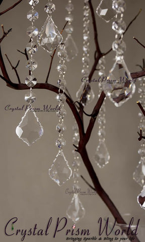 10Pc, Hanging French Crystal Wedding Pendant | #W9870 - Crystal Prism World