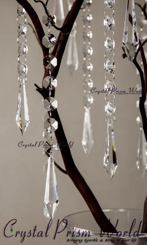 10Pc, Hanging Icicle Crystal Wedding Pendant | #W9875 - Crystal Prism World