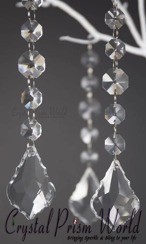 6Pc, French Crystal Wedding Pendant | #W9875F - Crystal Prism World