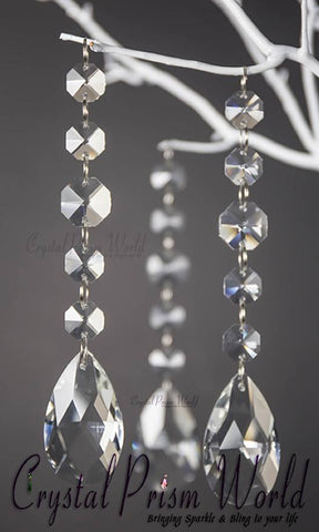 Teardrop - 6Pc, Teardrop Crystal Wedding Pendant | #W9875Q