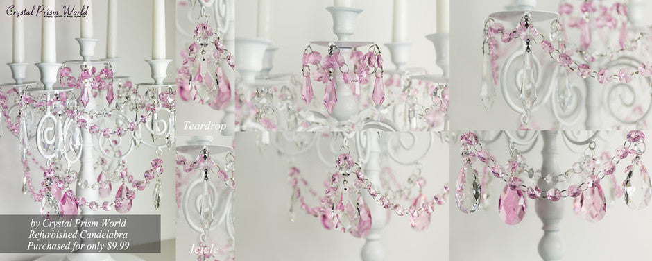 http://crystalprismworld.com/blogs/chandelier-projects/83867396-how-to-make-and-old-candelabra-into-an-amazing-centerpiece-with-crystals-crystal-garland
