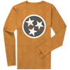 Long Sleeve Gray Tri-Star on Orange  Long Sleeve T-Shirt - Nothing Too Fancy