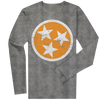 Long Sleeve Orange Tri-Star on Gray  Long Sleeve T-Shirt - Nothing Too Fancy