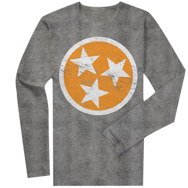 Long Sleeve Orange Tri-Star on Gray