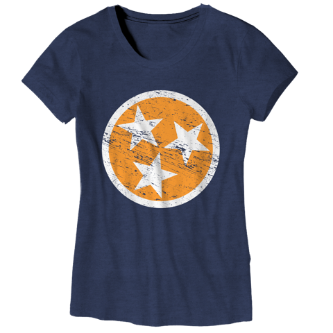 Ladies TN Flag - Navy w/ Orange