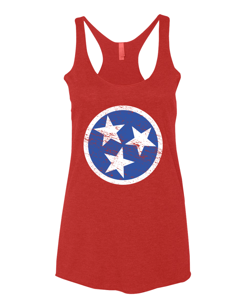 Ladies Red Tri-Star Racerback Tank