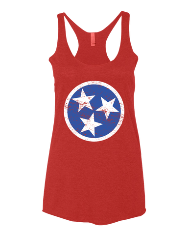 Ladies Red Tri-Star Racerback Tank - SALE!