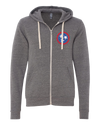 Red, White & Blue Tri-Star on Gray Zip-Up Hoodie  Zip Up Hoodie - Nothing Too Fancy