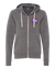 Red, White & Blue Tri-Star on Gray Zip-Up Hoodie