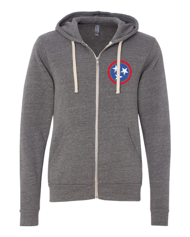 Blue Tri-Star on Gray Zip-Up Hoodie