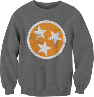 Gray TN Flag Crew Neck Sweatshirt  Crew Neck Sweatshirt - Nothing Too Fancy