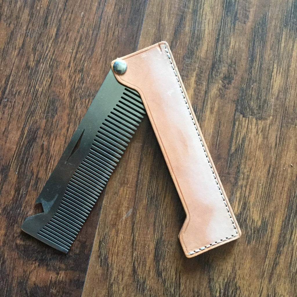 Steel and Hide Comb - Natural