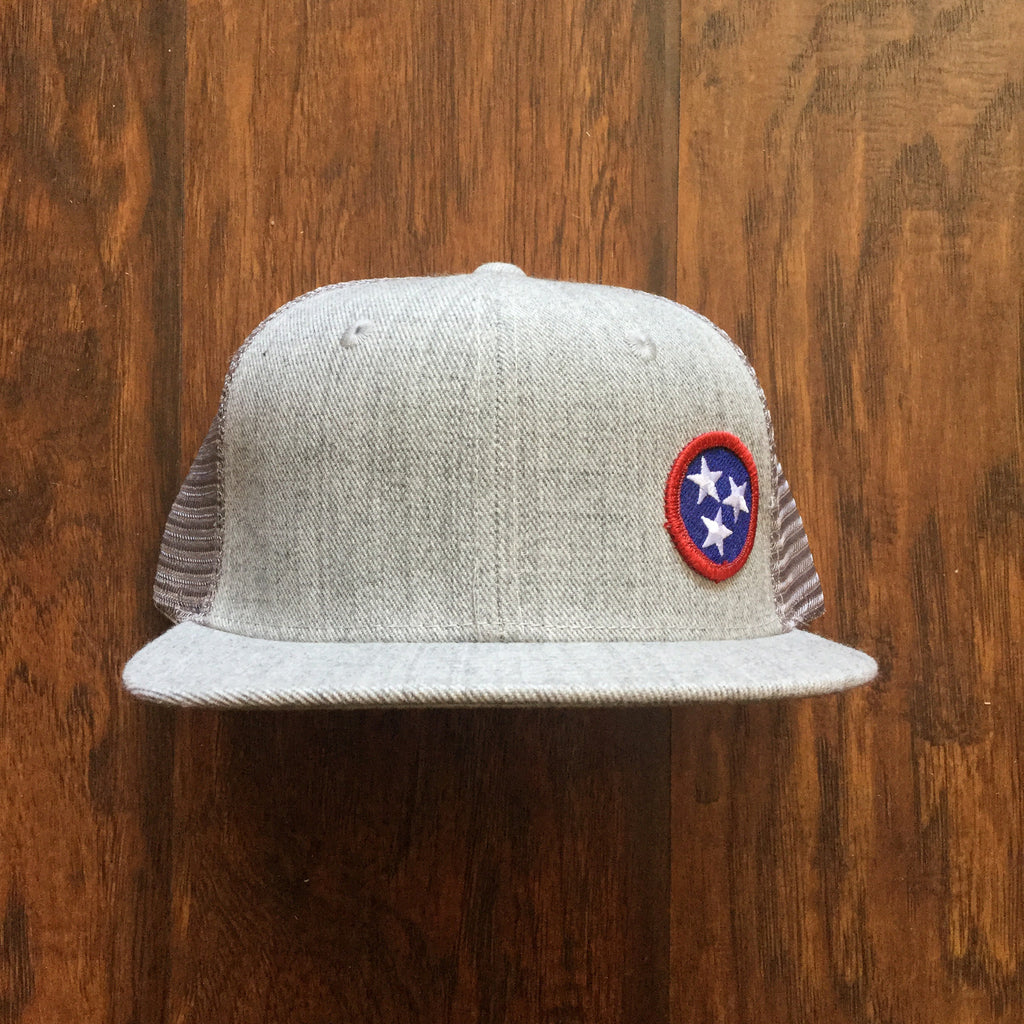 Tri-Star Flat Bill Snap Back Hat - Blue