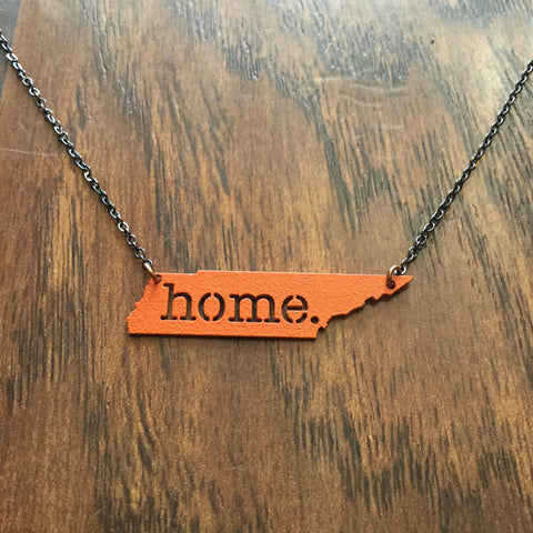 Home Necklace - Orange Stainless Steel
