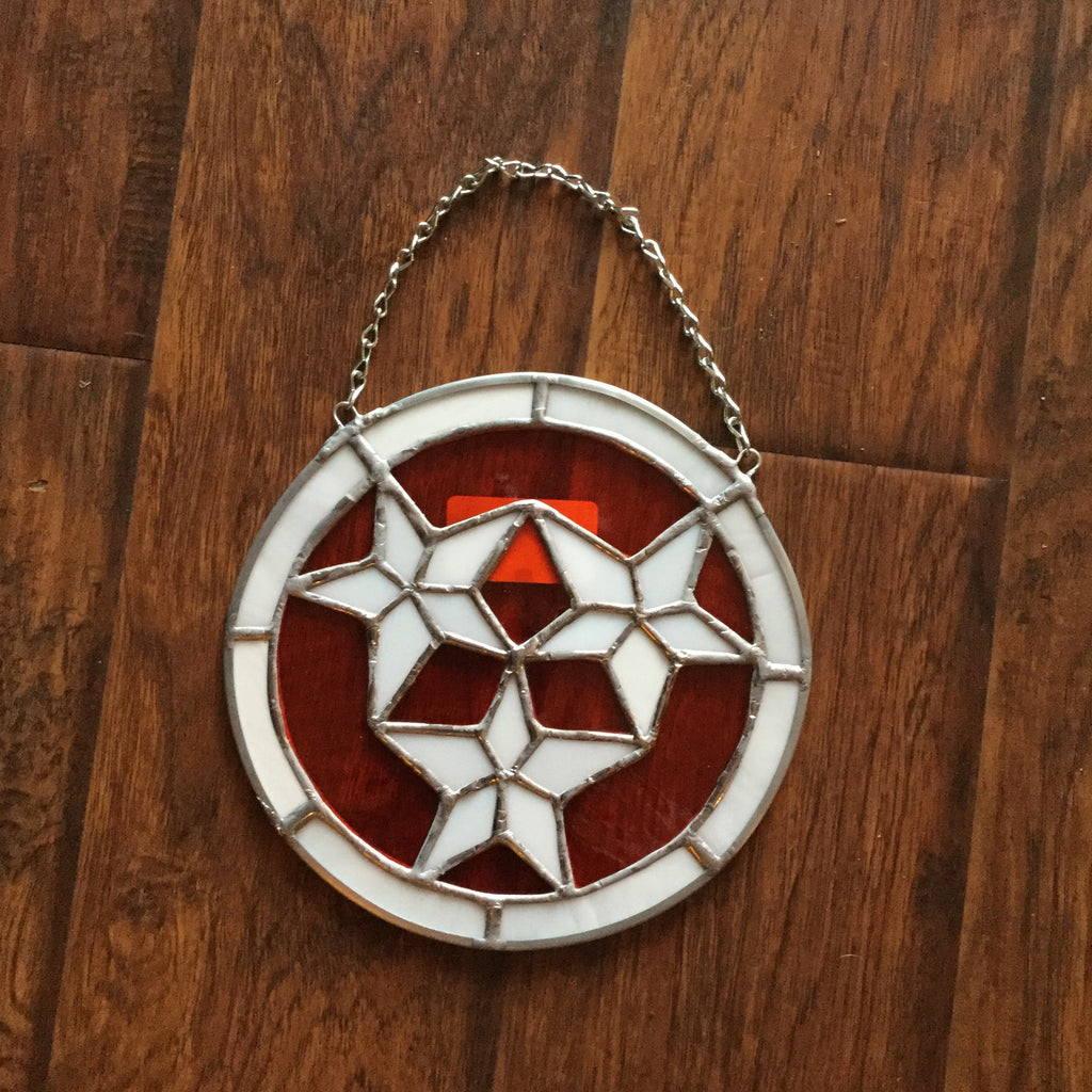 Stained Glass - TN Flag Orange/White   - Nothing Too Fancy
