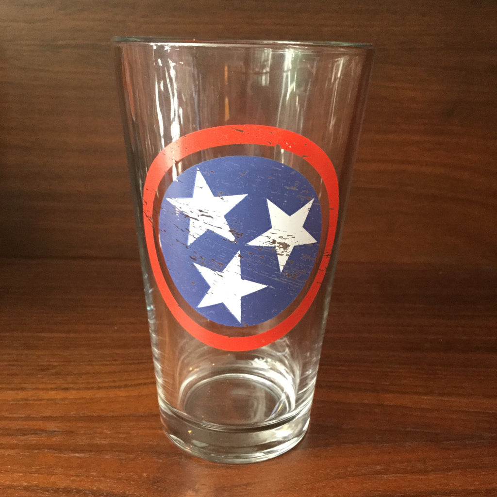 Tri-Star Flag RWB Pint Glass  glassware - Nothing Too Fancy
