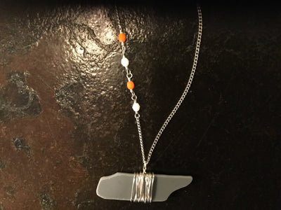"Gray Glass TN Necklace - 28""  jewelry - Nothing Too Fancy"