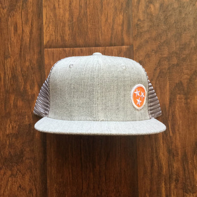 Tri-Star Flat Bill Snap Back Hat - Orange & White  Hat - Nothing Too Fancy