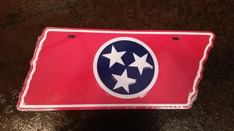 Red TN Flag License Plate
