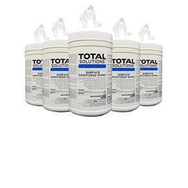 "Total Solutions Surface Sanitizing Wipes - 1 Case (6 Canisters, 6"" x 10"", 100 count each)"