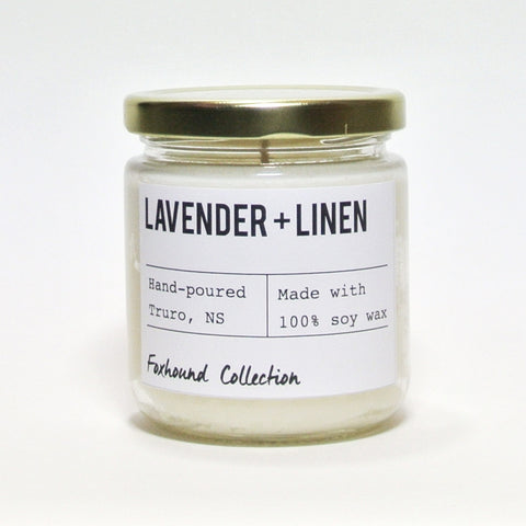 foxhound collection lavender + linen soy candle