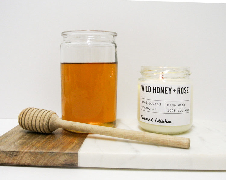 foxhound collection wild honey + rose candle