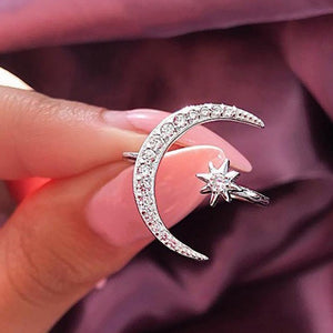 Sterling Silver Moon and Star Ring - As remarkable As You!