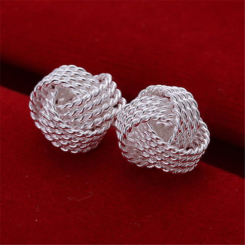 Elegant 925 Silver Color Elegant Soft Winding Button Earrings - ON SALE