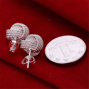 Elegant 925 Silver Color Elegant Soft Winding Button Earrings
