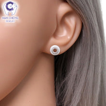 Load image into Gallery viewer, Ceramic and AAA Zircon Gem Stone Stud Button Earrings - ON SALE