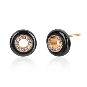 Ceramic and AAA Zircon Gem Stone Stud Button Earrings - ON SALE