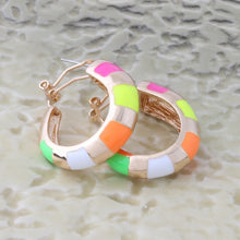 Load image into Gallery viewer, Our Rainbow Fluorescent Colors Gold Hoops Are the Latest Style for 2019-20