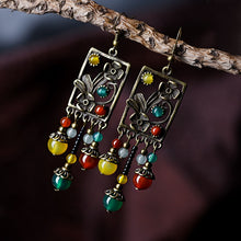 Load image into Gallery viewer, Handcrafted Ethnic Drop Long Dangle Earrings with Semi-precious Aventurine Stone and Copper