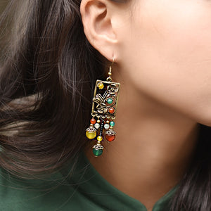 Handcrafted Ethnic Drop Long Dangle Earrings with Semi-precious Aventurine Stone and Copper