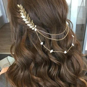 Bride or Bridesmaid Faux Pearl Leaves Headpiece - LoveOurJewelry.com