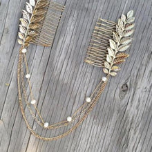 Load image into Gallery viewer, Bride or Bridesmaid Faux Pearl Leaves Headpiece - LoveOurJewelry.com