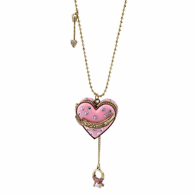 Handcrafted Enamel Open Heart Necklace Pendant