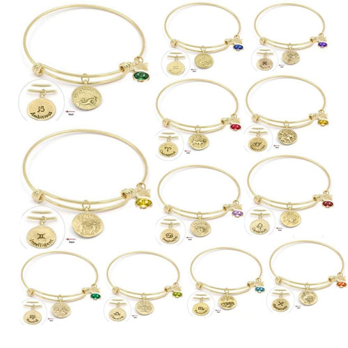 OUR ZODIAC-CONSTELLATION-BIRTHSTONE BANGLE W/FREE ZODIAC SIGN EARRINGS - ON SALE