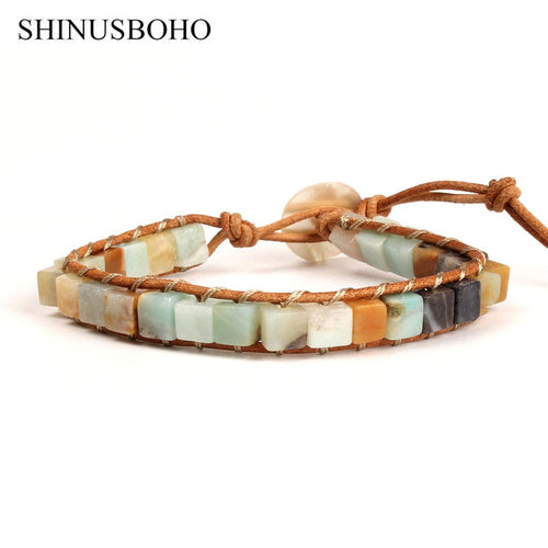 Semi Precious Stone and Leather Bracelet