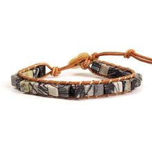 Load image into Gallery viewer, Semi Precious Stone and Leather Bracelet