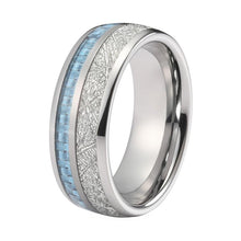 Load image into Gallery viewer, Blue Carbon Fiber And Meteorite Ring - LoveOurJewelry.com