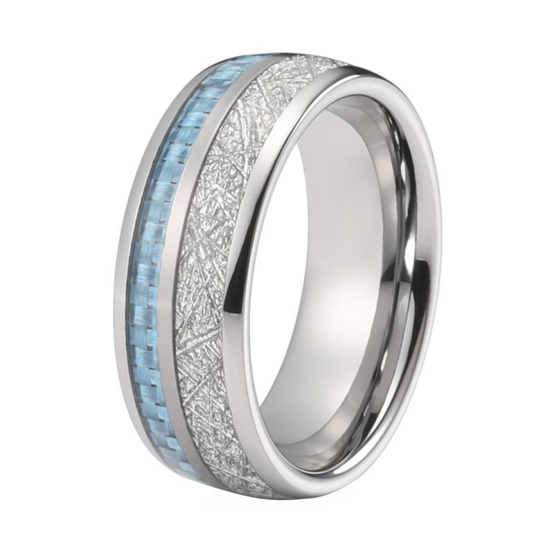Blue Carbon Fiber And Meteorite Ring - LoveOurJewelry.com