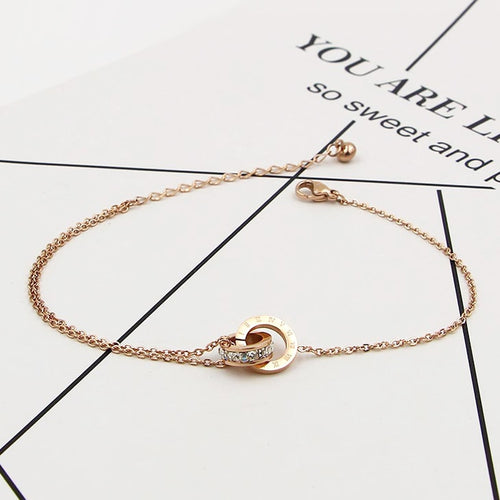 Gorgeous Stainless Steel Double Circle Rose Gold Anklet - ON SALE