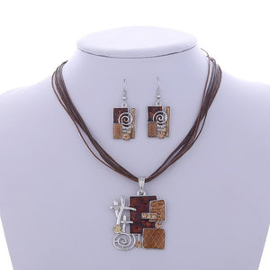 Ethnic Geometric Pendant Necklace and Earring Set
