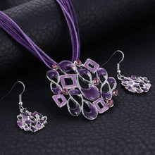 Load image into Gallery viewer, Ethnic Geometric Pendant Necklace and Earring Set