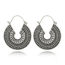 Load image into Gallery viewer, Our Beautiful Antiqued Geometric or Filagree Design Filled Hoop Earrings